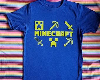 Minecraft Shirt. Minecraft Inspired. Creeper. Minecraft Tools. Gamer.