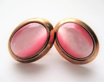Pink Earrings Signed Roman Earrings Pink Cat's Eye Glass Rose Gold Tone Art Glass Oval Button Stud Earrings