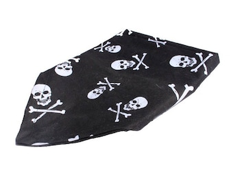 Dog Bandana, Dog Scarf, Pirates, Skulls, Black and White, Reversible, Small, Medium, Large, Pet Accessories, Pet Neckwear, 100% Cotton