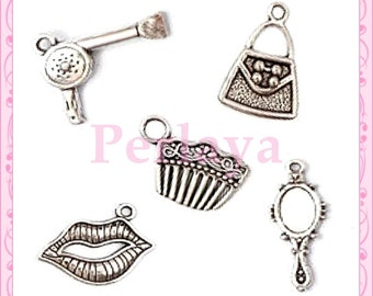Mix of 25 charms silver metal fashion REF130 themed