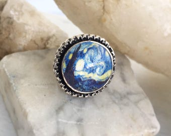 Starry Night Ring, Van Gogh Starry Night Jewelry, Silver Ring, Adjustable Ring, Blue Ring, Art Inspired Jewelry, Large Statement Ring