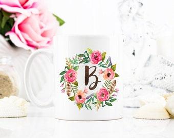 Floral Wreath Initial Coffee Mug - Coffee Cup - Large Coffee Mug - Statement Mug - Sassy Mug - Large Mug - Funny Mug - Statement Mugs