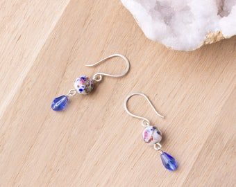 Floral Drop Earrings - flower lampwork glass sterling silver earrings with blue dangles | Pretty jewellery | Floral jewelry | Wedding outfit