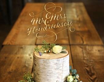 Mr & Mrs Last Name Elegant Wood Cake Topper - Wedding Cake Topper