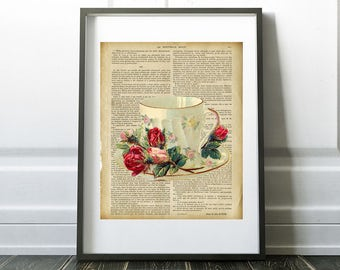 Pretty Vintage Teacup with rosebuds, tea cup on page from a french book, Digital Download, Printable Art, Kitchen decor, home decor,