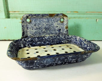 Vintage Blue and White Sponge Enamel Soap Dish, Wall Mount Graniteware Soap Dish with Drain Insert
