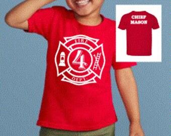 Fire Chief, Fireman Firefighter Chief Birthday Shirt, Kids Birthday Shirt