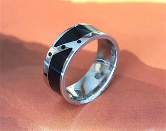 Stainless Steel Ring, Hawaiian Stainless Steel Ring With Black Enamel, R1127