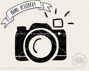 Camera SVG Cut File, Silhouette SVG, Cricut Cutting File, Hand Drawn Clipart, Camera Clipart Graphic, Wedding Hashtag Sign, Camera Flash