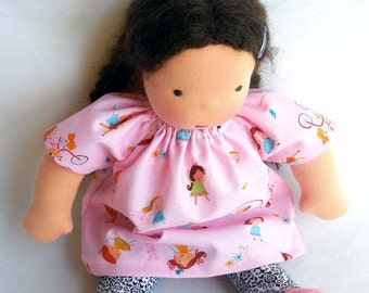 summer days, doll dress, 10 - 12 inch, doll clothes, Germandolls, pink frock, rag doll, cloth doll, Steiner doll, gift for girl