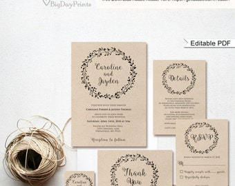 Rustic Wedding Invitation Template, Classic Wreath Wedding Invitation Suite, #A006A, Editable PDF - you personalize at home.