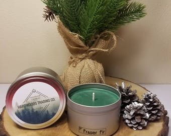 Fraser Fir Scented Candle, Soy Candle, Holiday Scented Candle, 8 oz Candle, Handmade Candle, Hand Poured Candle, Gift