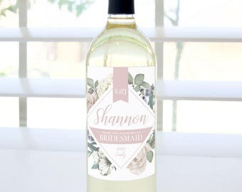 Thank You for Being My Bridesmaid Custom Wine Label (Romantic Garden, Blush) - Bridesmaid, Maid of Honor, Matron of Honor Thank You Gift
