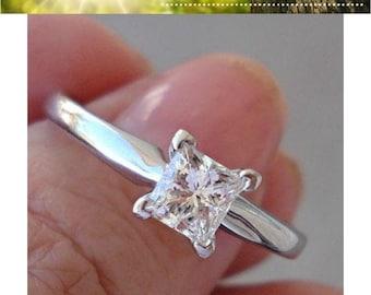 0.59 Half Carat Princess Cut Diamond Engagement Ring - 14K White Gold 4 Prong Solitaire