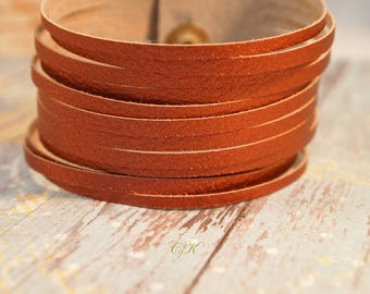 Copper Leather Strappy Cuff Bracelet Copper Faux Leather Cuff Bracelet Womans Leather Jewelry Boho Wrap Bracelet Gift for Her CKDesignsUS