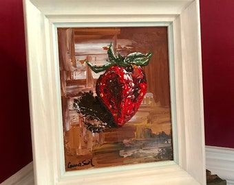Strawberry palette knife painting 8x10