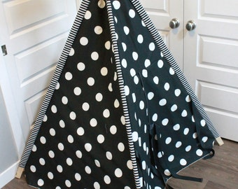 Toddler Teepee - Play Tent - Black & White Polka Dot with Striped pole sleeves