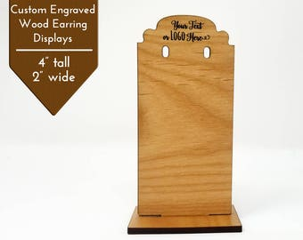 Custom Earring Display Wood Stand |  Add Logo & Text | Craft Show Displays Table Top Booth | Finish Alder Wood