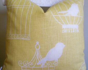 Yellow Pillow Yellow Bird Birdcage Pillow Duralee Birdcage Canary 16 18 20 BOTH SIDES 0