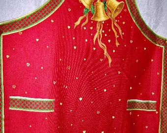 Holiday Apron Golden Bells Holly