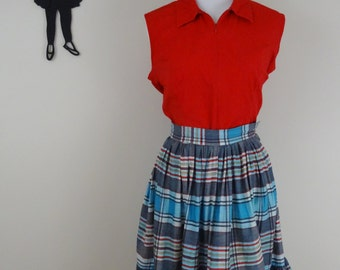 Vintage 1950's Striped Skirt/ 50s Plaid Skirt XS  tr
