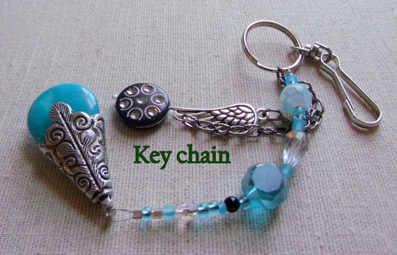 Biker key chains - angel wing charms - silver filigree pendant - turquoise  - orange silver drops - motorcycle silver -  babe - clip art
