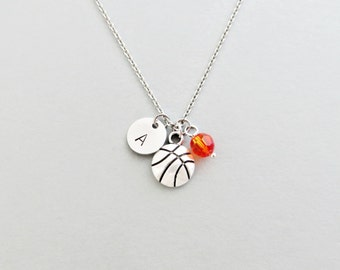 Basketball Initial Necklace Personalized Hand Stamped - with Silver Basketball Charm and Custom Bead