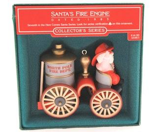 Vintage 1985 Hallmark ~Santa's Fire Engine~ Christmas Ornament.