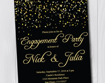 Printable Black & Gold Engagement Invitation/E-Card/Engagement Party Invitation Template/Engagement Announcement/Bridal Shower/Wedding