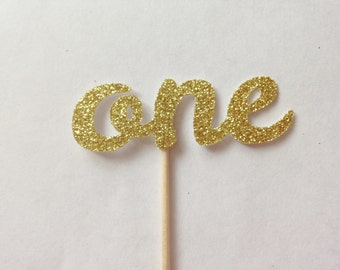12 One Glitter Cupcake Toppers - Birthday Party Decorations