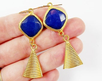 Navy Blue Diamond Jade Stone Earrings with Curved Ribbed Conical Charms Gold Fashion