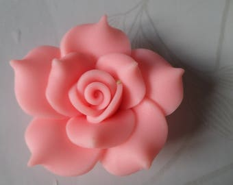 x 1 large Pearl Flower Pink 40 mm polymer clay