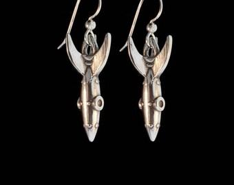 Spaceship Jewelry Rocket Earrings Alien Rocket Jewelry Rocketship Jewelry Rocketman Earrings Space Jewelry Rocket Jewelry Outer Space Alien