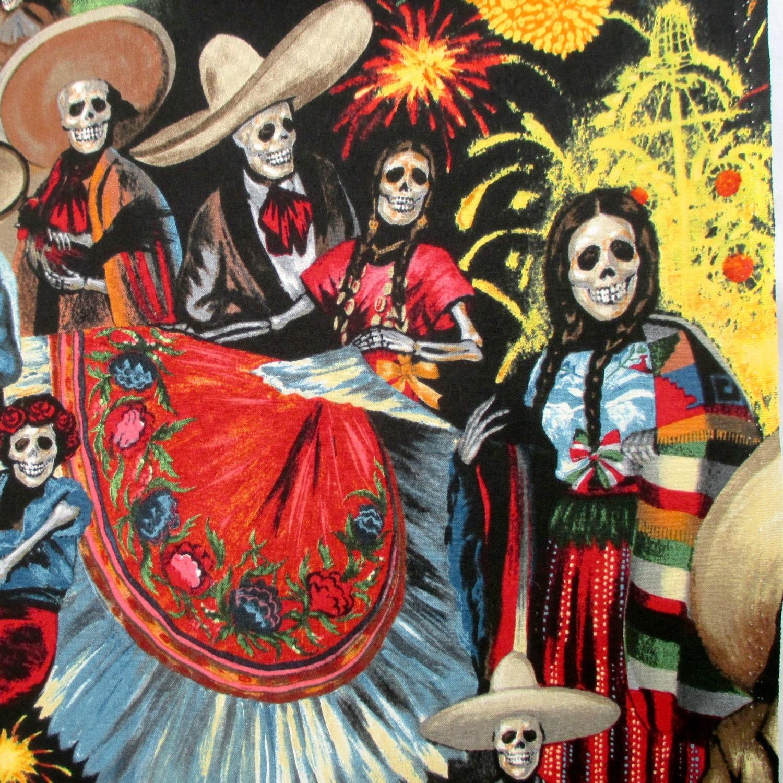 Fabric, Fiesta de San Marcos, Black, Alexander Henry, Dia de los ...