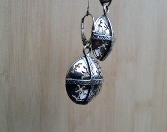 Sterling Silver Nordic Shield Earrings