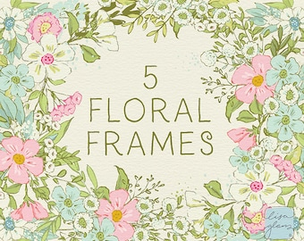 Spring Floral Frames clipart set: hand drawn floral frames clipart, downloadable spring floral clipart for commercial use / CM103a