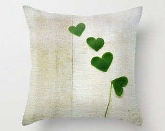 Decorative Pillow Cover, Photo Pillow Case, Accent Pillow Case, Shamrock Hearts Lucky Green Clovers, Nature Pillow, Home Decor, 16 18 or 20""