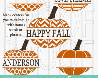 Pumpkin SVG Files Set of 5 cutting files includes svg/png/jpg formats!  (blank centers-no words included) Fall SVG Pumpkin SVG Split Pumpkin