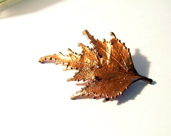 Vintage Leaf Brooch Copper tone fun pin
