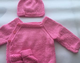 3 pieces set in pink cotton.