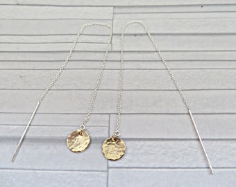 Gold disc threaders, Gold filled earrings, 925 threader earrings, Hammered disc earrings, Mixed metal earrings, Gold disc long earrings