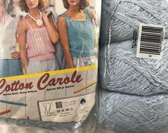 Tessan Cotton Carole Slub YARN~12 SK~Light Blue~+Pattern~MIP~Jessan~knit crochet
