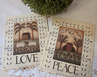 LOVE and PEACE - Set of 2 Sheep/Saltbox Mini Word Prints. Primitive Folk Art. Country. Prairie. Farmhouse.
