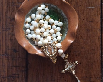 HANDMADE TABLETOP Mother of Pearl Rosary with Handmade Dish made in USA