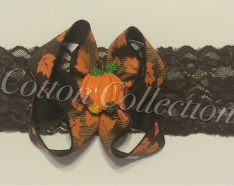 Pumpkin boutique bow headband