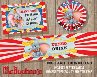 INSTANT DOWNLOAD Dumbo Birthday Party favors / water labels / cupcake toppers / thank you tags/as is