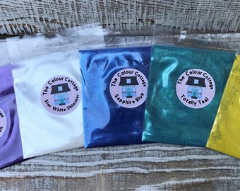 Pigment Color Powder Mica Shimmer Five Pack F from The Colour Cottage for Epoxy Resin, Jewelry, Cosmetics, Soaps, Lotions, Bath Bombs