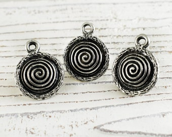 3 Circle of life Pendants Charms, Spiral Swirl Ethnic Tribal Pendant, Antique Silver finish