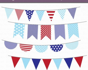 Patriotic Bunting Clipart Digital Art Set Red White and Blue Banner Flag INSTANT DOWNLOAD
