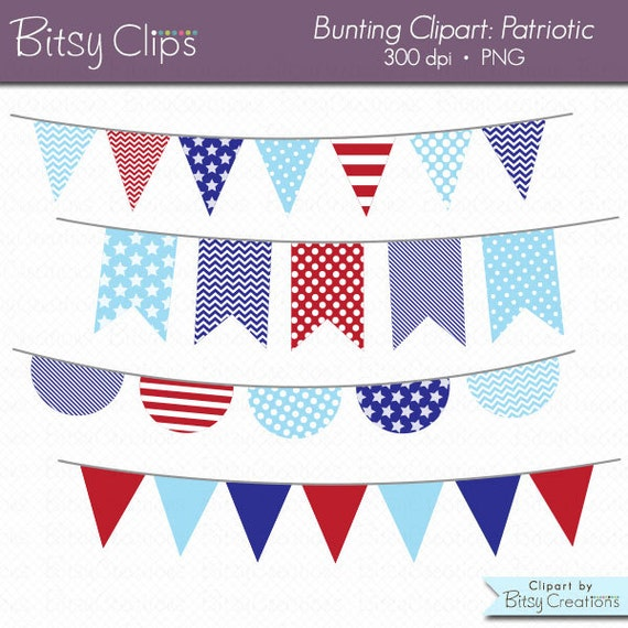 patriotic bunting clipart digital art set red white and blue banner flag instant download from. Black Bedroom Furniture Sets. Home Design Ideas